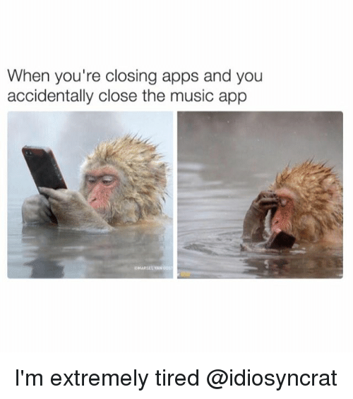Memes, Music, and Apps: When you're closing apps and you  accidentally close the music app I'm extremely tired @idiosyncrat