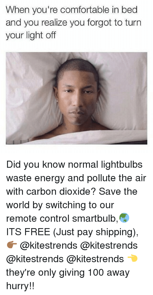 Anaconda, Comfortable, and Energy: When you're comfortable in bed  and you realize you forgot to turn  your light off Did you know normal lightbulbs waste energy and pollute the air with carbon dioxide? Save the world by switching to our remote control smartbulb,🌏 ITS FREE (Just pay shipping), 👉🏾 @kitestrends @kitestrends @kitestrends @kitestrends 👈 they're only giving 100 away hurry!!