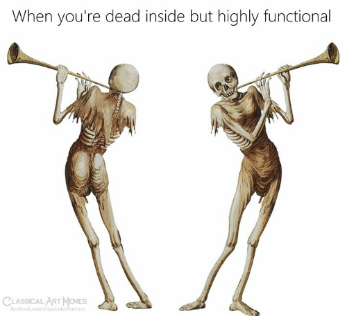 Functional: When you're dead inside but highly functional  facebook.com/classicalartimemes