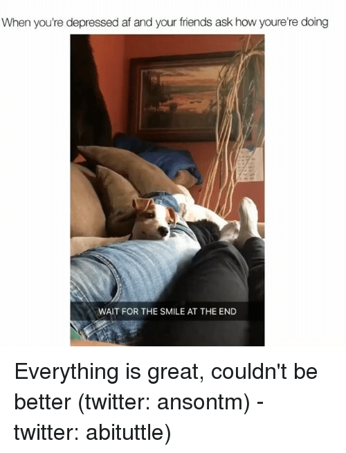 Greatful: When you're depressed af and your friends ask how youre're doing  WAIT FOR THE SMILE AT THE END Everything is great, couldn't be better (twitter: ansontm) - twitter: abituttle)