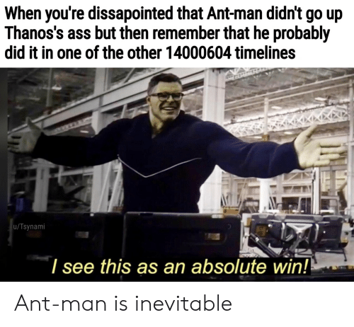 ant man: When you're dissapointed that Ant-man didn't go up  Thanos's ass but then remember that he probably  did it in one of the other 14000604 timelines  u/Tsynami  l see this as an absolute win! Ant-man is inevitable