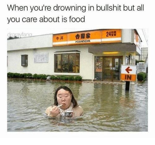 Bullshite: When you're drowning in bullshit but all  you care about is food  drorayfa  牛丼 劍贫家 242
