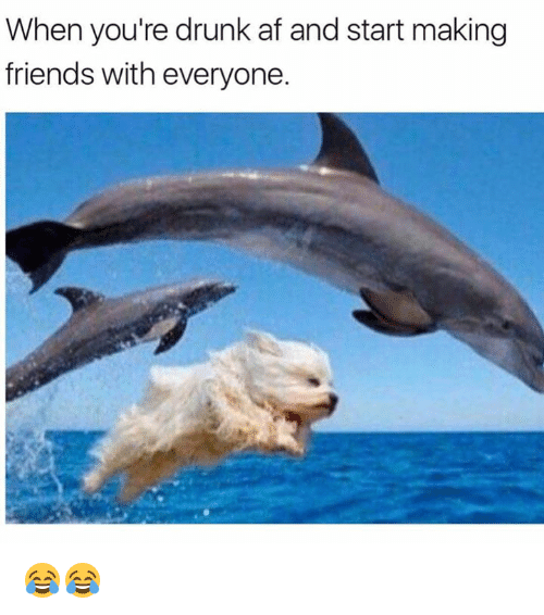 Af, Drunk, and Friends: When you're drunk af and start making  friends with everyone. 😂😂