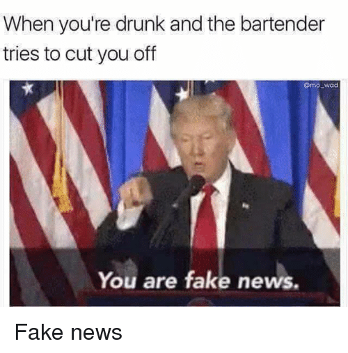 Drunk, Fake, and Memes: When you're drunk and the bartender  tries to cut you off  Omo. wad  You are fake news. Fake news