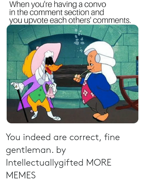 The Comment Section: When you're having a convo  in the comment section and  you upvote each others' comments You indeed are correct, fine gentleman. by Intellectuallygifted MORE MEMES