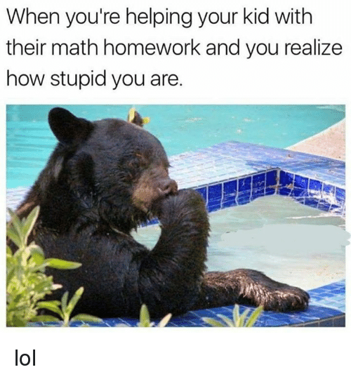 Math Homework: When you're helping your kid with  their math homework and you realize  how stupid you are. lol