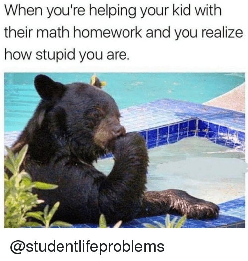 Math Homework: When you're helping your kid with  their math homework and you realize  how stupid you are @studentlifeproblems