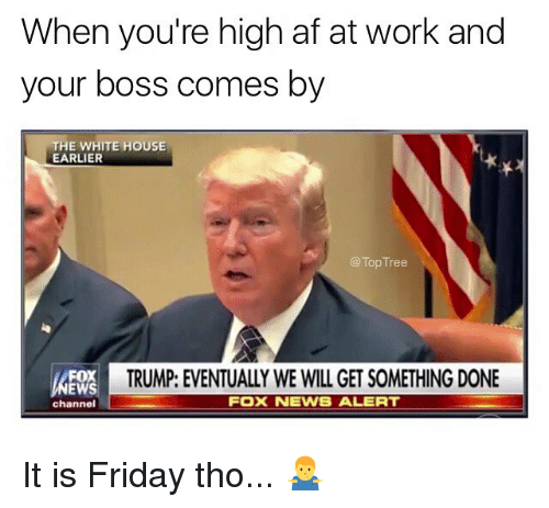 Af, Friday, and Memes: When you're high af at work and  your boss comes by  THE WHITE HOUSE  EARLIER  @Top Tree  TRUMP: EVENTUALLY WE WILL GET SOMETHING DONE  FOX  EWS  channel  FOX NEWS ALERT It is Friday tho... 🤷‍♂️