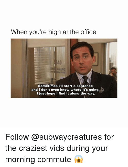 Memes, The Office, and Office: When you're high at the office  40  es i'l start a sente  Sometimes i'Il start a sentence  and I don't even know where it's going.al  I just hope I find it along the way Follow @subwaycreatures for the craziest vids during your morning commute 😱