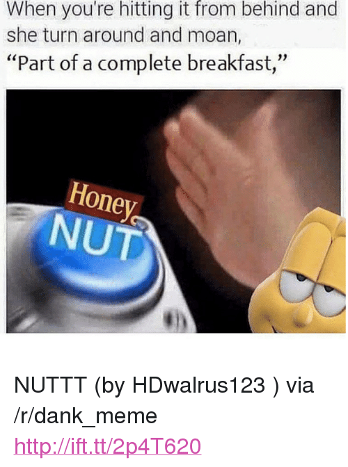 """Honey Nut: When you're hitting it from behind and  she turn around and moan,  """"Part of a complete breakfast,  Honey  NUT <p>NUTTT (by HDwalrus123 ) via /r/dank_meme <a href=""""http://ift.tt/2p4T620"""">http://ift.tt/2p4T620</a></p>"""