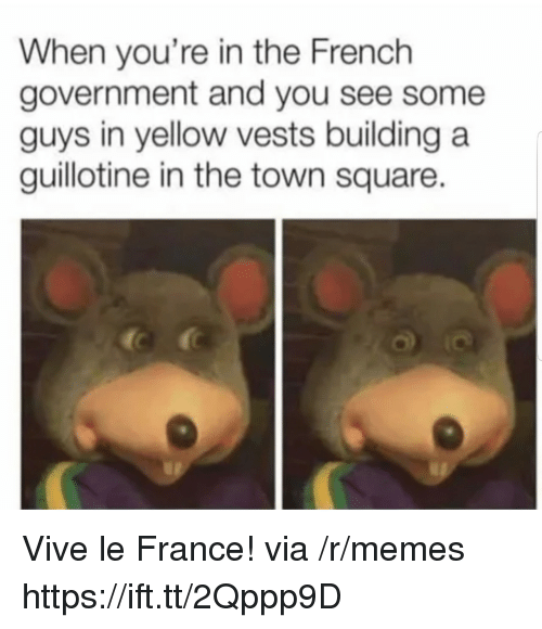 guillotine: When you're in the French  government and you see some  guys in yellow vests building a  guillotine in the town square. Vive le France! via /r/memes https://ift.tt/2Qppp9D