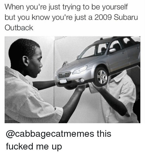 Outback: When you're just trying to be yourself  but you know you're just a 2009 Subaru  Outback @cabbagecatmemes this fucked me up