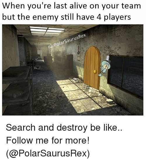 Alive, Memes, and Enemies: When you're last alive on your team  but the enemy still have 4 players  arsaurusRex  IG:PO Search and destroy be like.. Follow me for more! (@PolarSaurusRex)