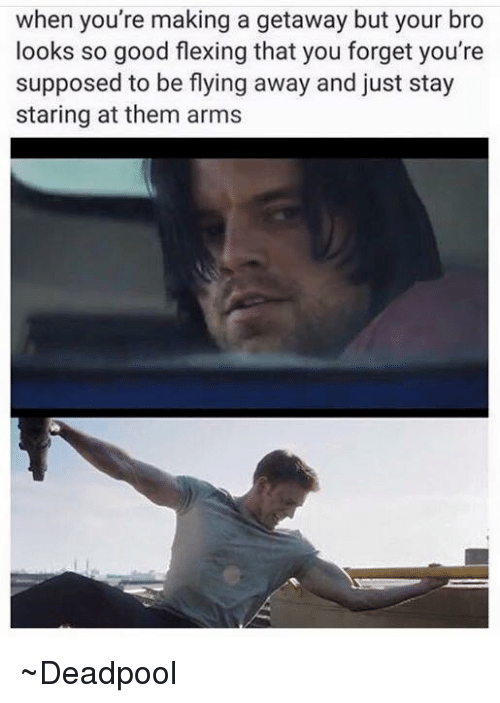 Avengers: when you're making a getaway but your bro  looks so good flexing that you forget you're  supposed to be flying away and just stay  staring at them arms ~Deadpool