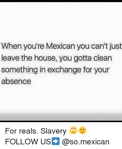 Memes, House, and Mexican: When you're Mexican you can't just  leave the house, you gotta clean  something in exchange for your  absence For reals. Slavery 🙄🙂 FOLLOW US➡️ @so.mexican