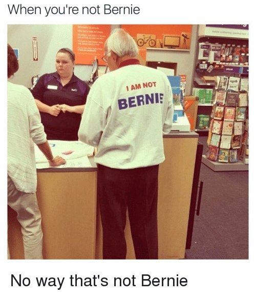 Funny and Bernie: When you're not Bernie  IAM NOT  BERNIE No way that's not Bernie