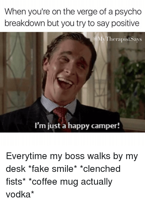 Everytim: When you're on the verge of a psycho  breakdown but you try to say positive  My Therapists ays  (a I'm just a happy camper! Everytime my boss walks by my desk *fake smile* *clenched fists* *coffee mug actually vodka*