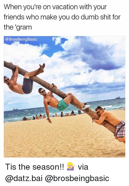 Dumb, Friends, and Shit: When you're on vacation with your  friends who make you do dumb shit for  the gram  @Bros Being Basic Tis the season!! 💁🏼 via @datz.bai @brosbeingbasic
