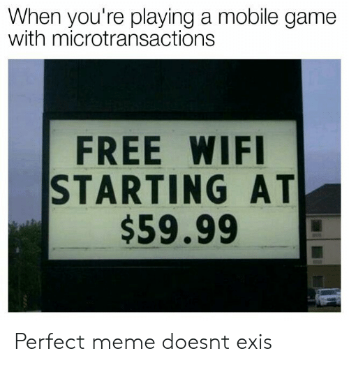 Free Wifi: When you're playing a mobile game  with microtransactions  FREE WIFI  STARTING AT  $59.99 Perfect meme doesnt exis
