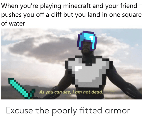 Cliff: When you're playing minecraft and your friend  pushes you off a cliff but you land in one square  of water  As you can see, I am not dead Excuse the poorly fitted armor