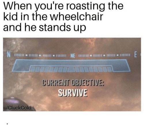 objective: When you're roasting the  kid in the wheelchair  and he stands up  NE  CURRENT OBJECTIVE:  SURVIVE  u/CluckCold .
