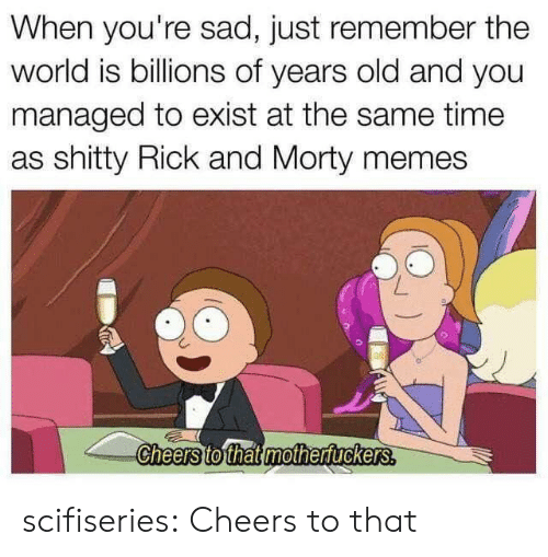 Memes, Rick and Morty, and Tumblr: When you're sad, just remember the  world is billions of years old and you  managed to exist at the same time  as shitty Rick and Morty memes  Cheers to that mothertuckers. scifiseries:  Cheers to that