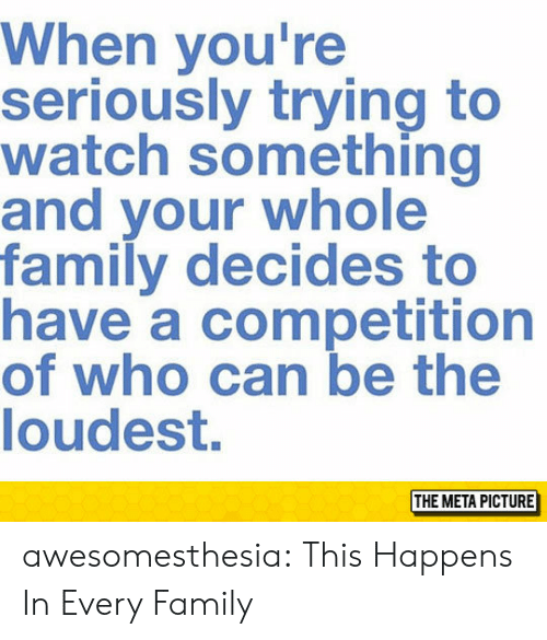 meta: When you're  seriously trying to  watch something  and your whole  family decides to  have a competition  of who can be the  loudest.  THE META PICTURE awesomesthesia:  This Happens In Every Family