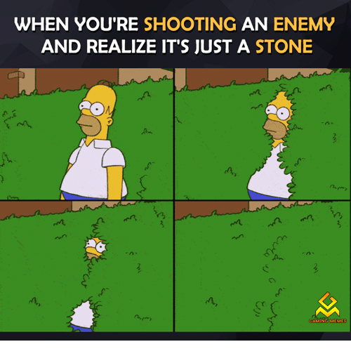 Video Games, Game-Meme, and Game-Memes: WHEN YOU'RE SHOOTING  AN ENEMY  AND REALIZE IT'S JUST A STONE  n  GAMING MEMES