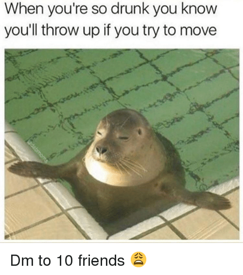 Drunk, Friends, and Memes: When you're so drunk you know  youll throw up if you try to move Dm to 10 friends 😩