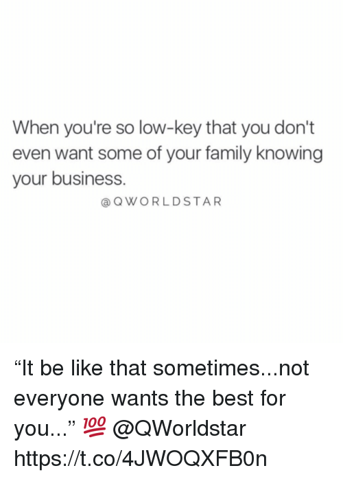 "Be Like, Family, and Low Key: When you're so low-key that you don't  even want some of your family knowing  your business  @QWORLDSTAR ""It be like that sometimes...not everyone wants the best for you..."" 💯 @QWorldstar https://t.co/4JWOQXFB0n"