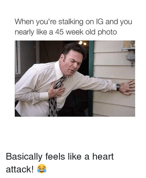 Memes, Stalking, and Heart: When you're stalking on IG and you  nearly like a 45 week old photo  Ti Basically feels like a heart attack! 😂