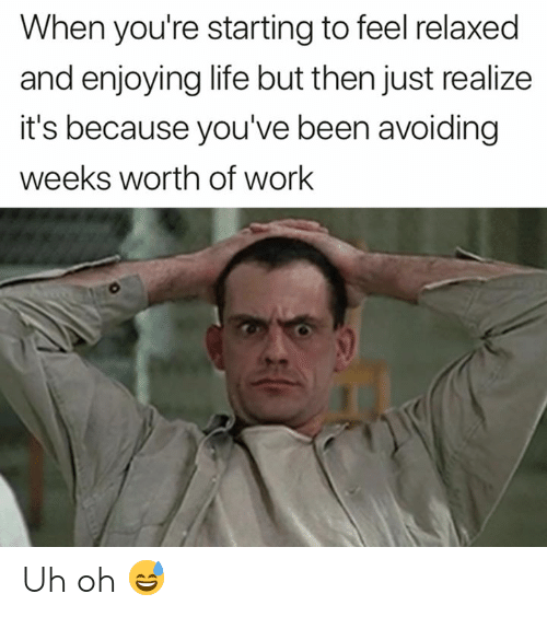Enjoying Life: When you're starting to feel relaxed  and enjoying life but then just realize  it's because you've been avoiding  weeks worth of work Uh oh 😅
