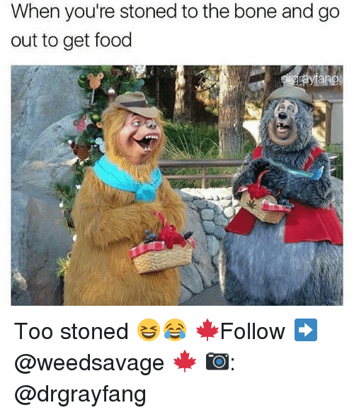 boned: When you're stoned to the bone and go  out to get food Too stoned 😆😂 🍁Follow ➡ @weedsavage 🍁 📷: @drgrayfang