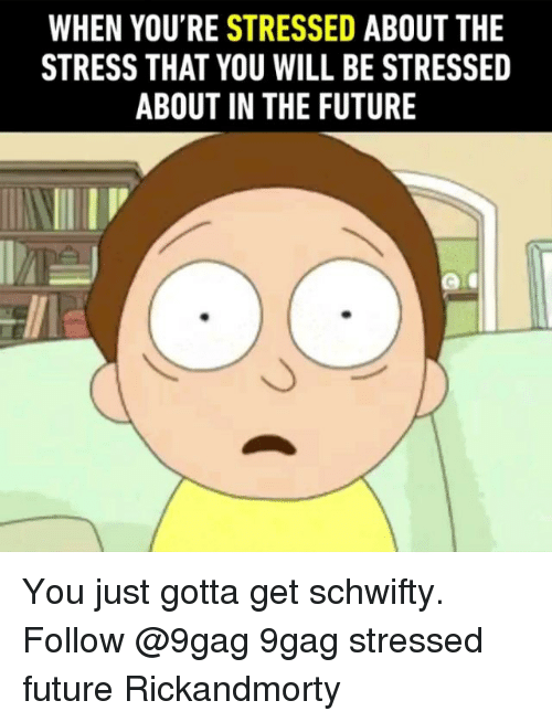 9gag, Future, and Memes: WHEN YOU'RE STRESSED ABOUT THE  STRESS THAT YOU WILL BE STRESSED  ABOUT IN THE FUTURE You just gotta get schwifty. Follow @9gag 9gag stressed future Rickandmorty