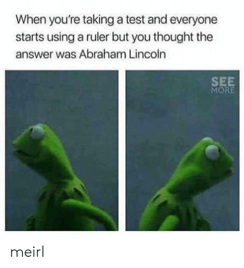 Abraham: When you're taking a test and everyone  starts using a ruler but you thought the  answer was Abraham Lincoln  SEE  MORE meirl