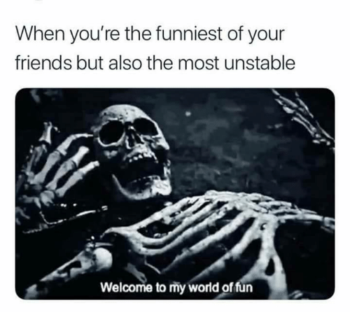 Friends, World, and Fun: When you're the funniest of your  friends but also the most unstable  Welcome to my world of fun