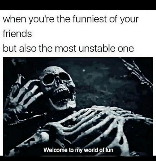 Friends, World, and Fun: when you're the funniest of your  friends  but also the most unstable one  Welcome to my world of fun