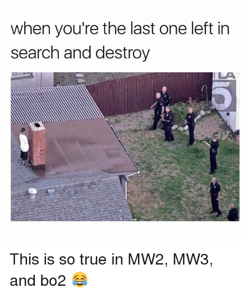 Memes, True, and Search: when you're the last one left in  search and destroy  ILA This is so true in MW2, MW3, and bo2 😂