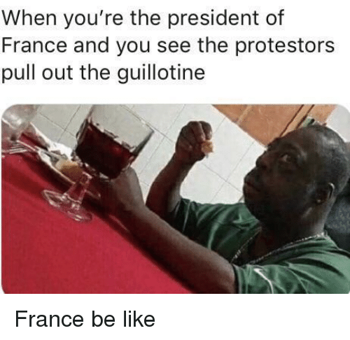 the guillotine: When you're the president of  France and you see the protestors  pull out the guillotine France be like