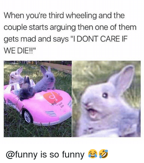 """Funny, Memes, and Mad: When you're third wheeling and the  couple starts arguing then one of them  gets mad and says """"I DONT CARE IF  WE DIE!!"""" @funny is so funny 😂🤣"""