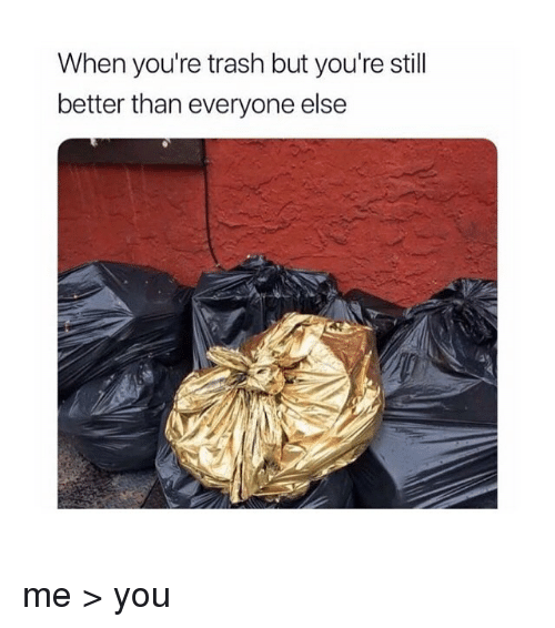Youre Trash: When you're trash but you're stil  better than everyone else me > you