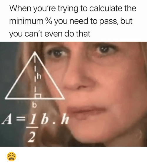 You, Youre, and B&h: When you're trying to calculate the  minimum % you need to pass, but  you can't even do that  A-1 b. h  2 😫