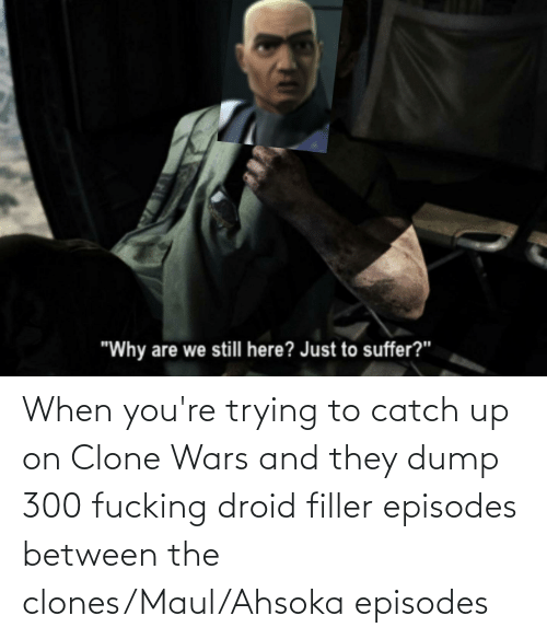 episodes: When you're trying to catch up on Clone Wars and they dump 300 fucking droid filler episodes between the clones/Maul/Ahsoka episodes
