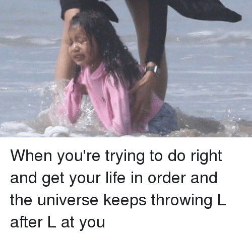Funny and Order: When you're trying to do right and get your life in order and the universe keeps throwing L after L at you