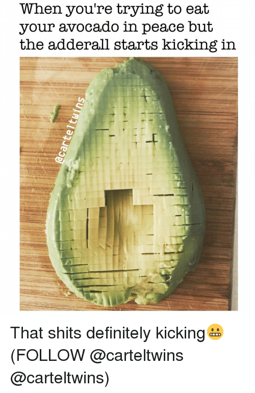 Definitely, Memes, and Avocado: When you're trying to eat  your avocado in  peace but  the adderall starts kicking in That shits definitely kicking😬 (FOLLOW @carteltwins @carteltwins)