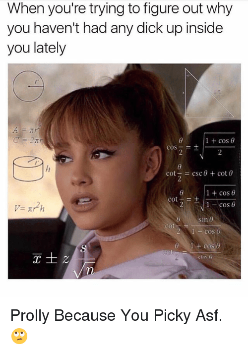 Dick, Dank Memes, and Csc: When you're trying to figure out why  you haven't had any dick up inside  you lately  1+cos θ  cos-=  -  cot-= csc θ + cot θ  1 + cos θ  た㎡h  sin θ  2 1cos  1 + cos  cot- Prolly Because You Picky Asf. 🙄