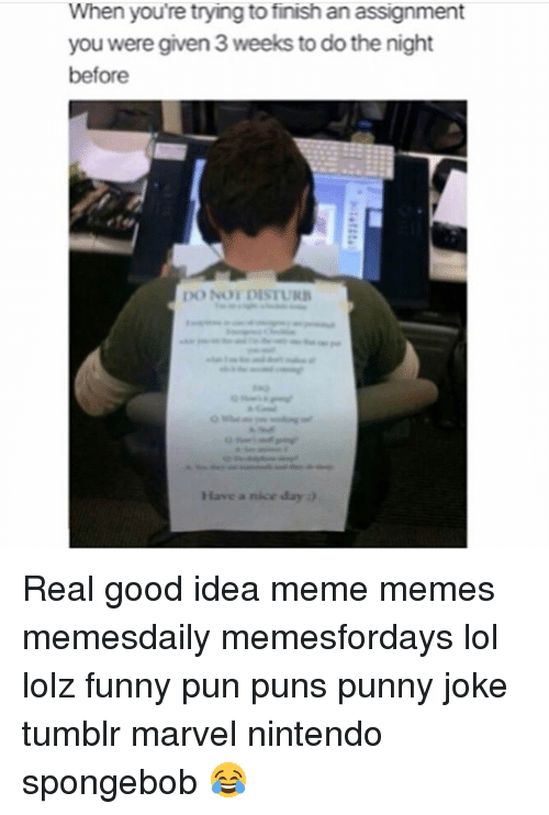 Joke Tumblr: When you're trying to finish an assignment  you were given 3 weeks to do the night  before  DO NONDISTURB  Have a nice day Real good idea meme memes memesdaily memesfordays lol lolz funny pun puns punny joke tumblr marvel nintendo spongebob 😂