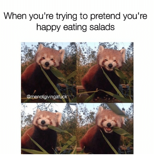 when youre trying to pretend youre happy eating salads menotgivingafuck 2230749 when you're trying to pretend you're happy eating salads happy