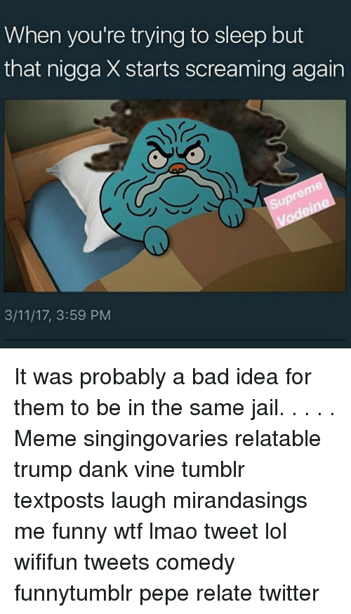 Jail Meme: When you're trying to sleep but  that nigga X starts screaming again  3/11/17, 3:59 PM It was probably a bad idea for them to be in the same jail. . . . . Meme singingovaries relatable trump dank vine tumblr textposts laugh mirandasings me funny wtf lmao tweet lol wififun tweets comedy funnytumblr pepe relate twitter