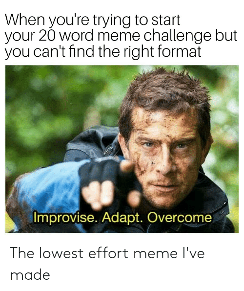 Meme Challenge: When you're trying to start  your 20 word meme challenge but  you can't find the right format  Improvise. Adapt. Overcome The lowest effort meme I've made
